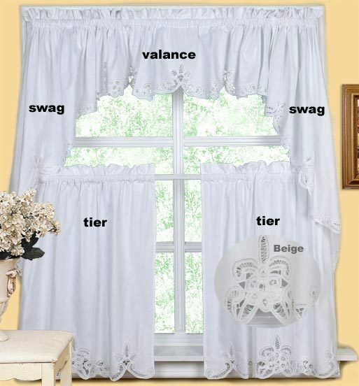 Creative Linens Battenburg Kitchen Curtain Valance Tier Swag White Beige Intended For Chardonnay Tier And Swag Kitchen Curtain Sets (View 10 of 50)