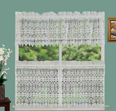 """Creative Linens Knitted Lace Kitchen Curtain Valance Or 24"""" Tiers Ivory 