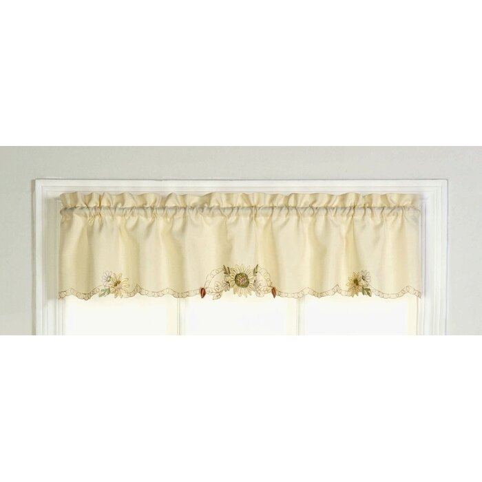 """Cripe Embroidered Sunflower Tailored Kitchen 60"""" Window Valance Pertaining To Sunflower Cottage Kitchen Curtain Tier And Valance Sets (#11 of 50)"""