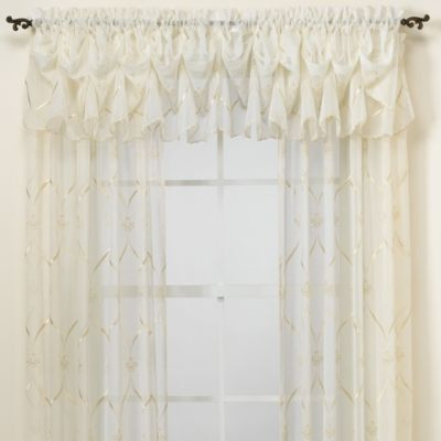 Croscill Cavalier Sheer Window Panel – Bedbathandbeyond With Regard To Navy Vertical Ruffled Waterfall Valance And Curtain Tiers (View 30 of 30)