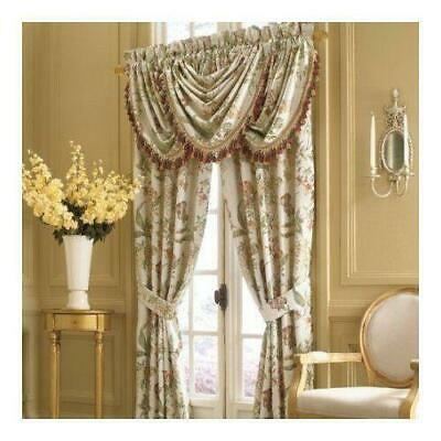 Croscill Juniper Waterfall Swag Valance Floral Tassel Trimmed Rare Irises |  Ebay Throughout Floral Pattern Window Valances (View 7 of 50)