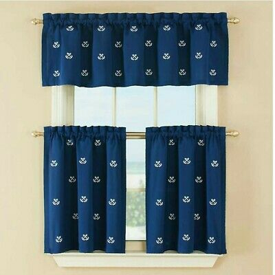 Crossed Anchors Curtain Tiers Navy 52 X 36 Nautical Beach House | Ebay For Coastal Tier And Valance Window Curtain Sets (View 8 of 30)