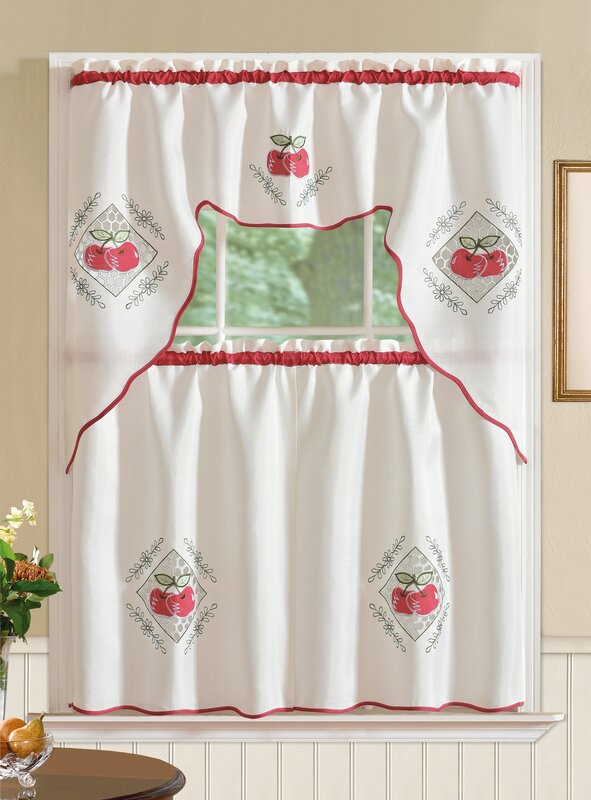 Crunch Into A Delicious Red Apple Kitchen Decor – Home Sweet With Embroidered Chef Black 5 Piece Kitchen Curtain Sets (View 11 of 42)