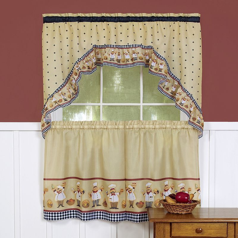 Cucina 3 Piece Swag Tier Kitchen Window Curtain Set With Chardonnay Tier And Swag Kitchen Curtain Sets (View 5 of 50)