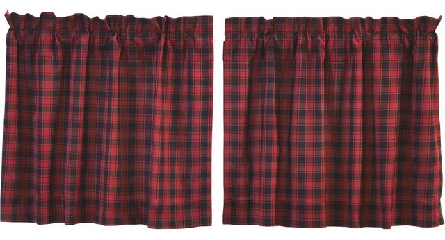 "Cumberland Tier Lined Curtains, Set Of 2, 24""x36"" With Cumberland Tier Pair Rod Pocket Cotton Buffalo Check Kitchen Curtains (View 13 of 30)"
