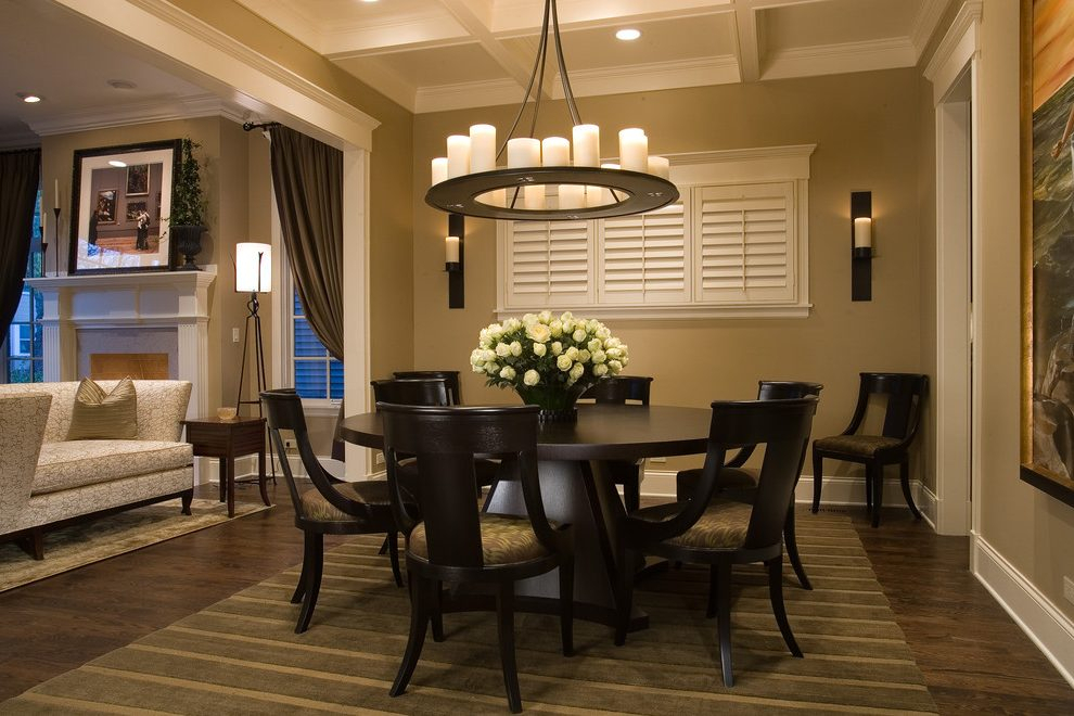 Current Rae Round Pedestal Dining Tables Regarding Chicago 8 Person Round Dining Room Traditional With Floral (#2 of 30)