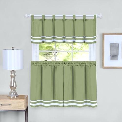 Curtain And Valance Set In Scroll Leaf 3 Piece Curtain Tier And Valance Sets (View 26 of 50)