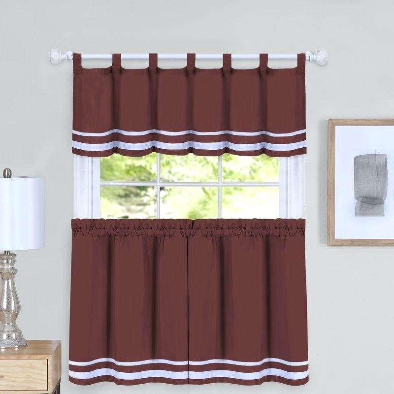 Curtain And Valance Set With Scroll Leaf 3 Piece Curtain Tier And Valance Sets (View 6 of 50)
