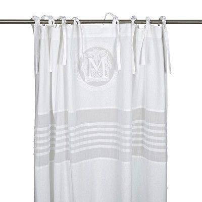 Curtain Molly White Cottage Curtain 115X240Shabby Brocade Monogram | Ebay Within Ivory Micro Striped Semi Sheer Window Curtain Pieces (View 37 of 50)