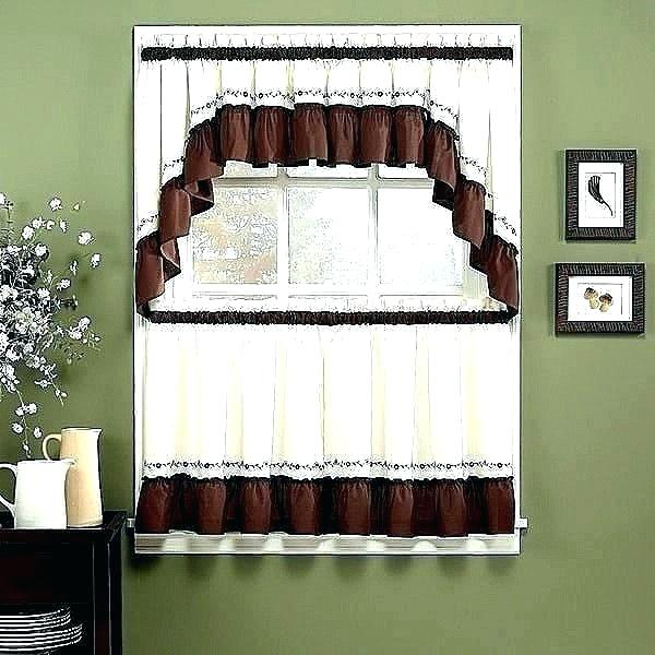 Curtain Sets With Valance – Mnkskin With Imperial Flower Jacquard Tier And Valance Kitchen Curtain Sets (#19 of 46)