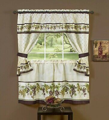 Curtain Sunflower Cottage Set Antique Style Window Kitchen Cafe Swag Tier  Decor   Ebay Within Multicolored Printed Curtain Tier And Swag Sets (View 10 of 30)