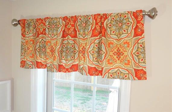Curtain Valance Topper Window Treatment 52X15 Clay Orange Blue Gold  Medallion Valance Home Decor For Medallion Window Curtain Valances (#18 of 48)