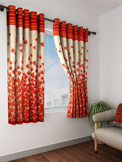 Curtains – Buy Window Curtains & Door Curtains Online | Myntra Inside Embroidered 'Coffee Cup' 5 Piece Kitchen Curtain Sets (View 14 of 30)