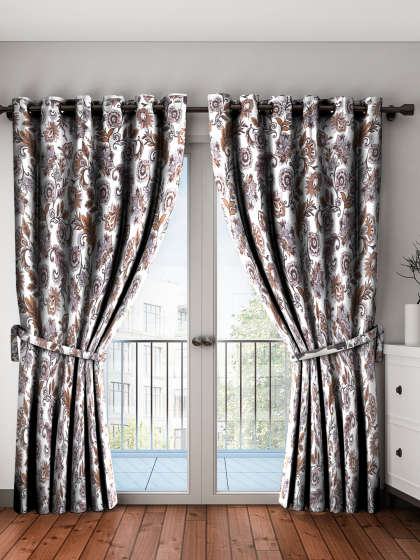 Curtains – Buy Window Curtains & Door Curtains Online | Myntra With Embroidered 'Coffee Cup' 5 Piece Kitchen Curtain Sets (View 15 of 30)