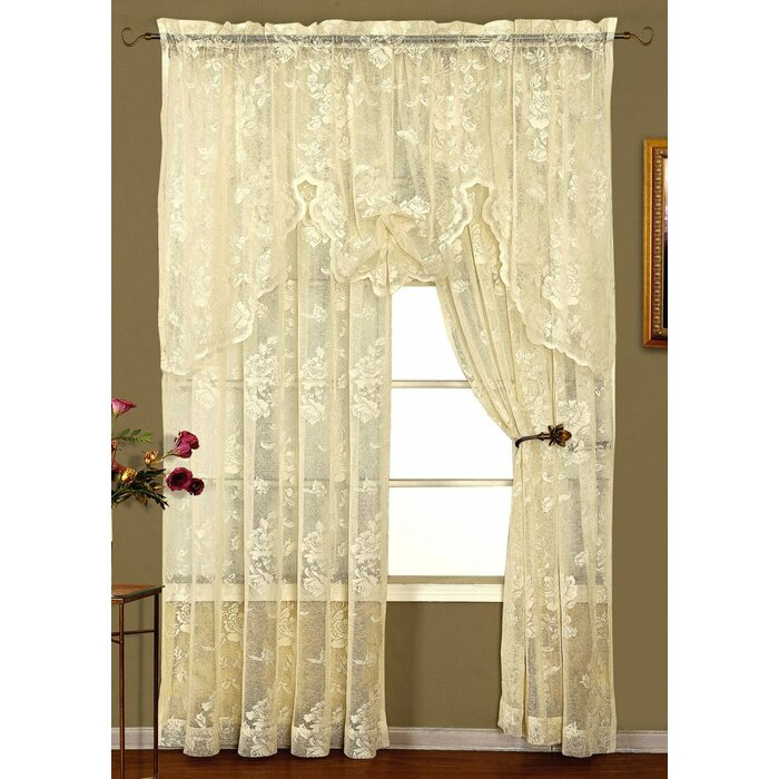 Curtains, Drapes & Valances Knitted Lace Window Curtain Throughout Marine Life Motif Knitted Lace Window Curtain Pieces (#12 of 48)