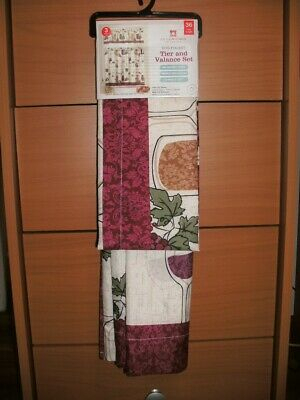 """Inspiration about Curtains Tier And Valance 3 Piece Set, 36"""" Wine Theme For Kitchen 