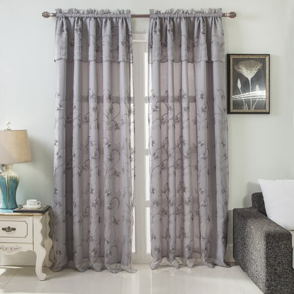 Curtains With Valance Attached | Wayfair Within Embroidered Rod Pocket Kitchen Tiers (View 12 of 49)