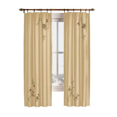 Curtainworks Semi Opaque Gold Asia Faux Silk Rod Pocket With Regard To Floral Embroidered Faux Silk Kitchen Tiers (View 7 of 50)