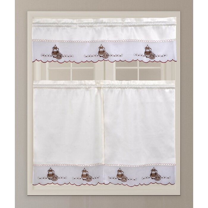 Custis Coffee Tea Pot Embroidery 3 Piece Kitchen Curtain Set Pertaining To Embroidered Ladybugs Window Curtain Pieces (View 9 of 50)