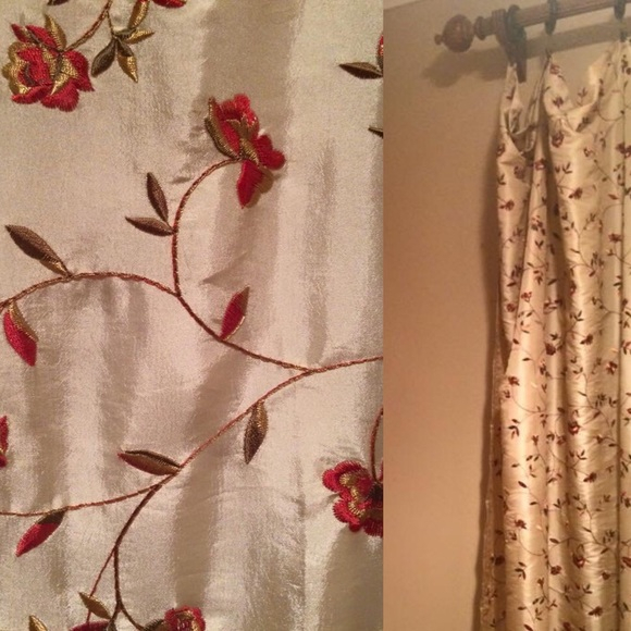 Custom Beige/gold Tone Faux Silk Panels Pertaining To Floral Embroidered Faux Silk Kitchen Tiers (View 8 of 50)