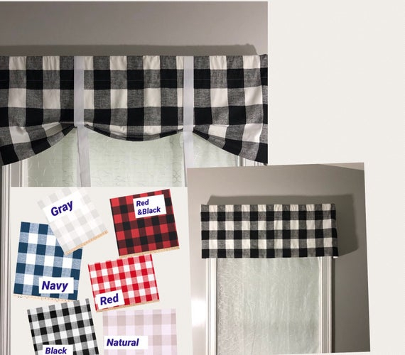 Custom Farmhouse Style Tie Up Valance/ Buffalo Check Country Valance/ Roll  Up Shade With Grosgrain Ribbon Ties/ Pick Your Color Within Barnyard Buffalo Check Rooster Window Valances (View 11 of 30)