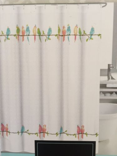Cynthia Rowley Fabric Shower Curtain Parakeets /birds,scroll With Rowley Birds Valances (#7 of 50)