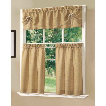 Inspiration about Dainty Home Lucia Kitchen Window Curtain Set Of 3, Gold In With Lodge Plaid 3 Piece Kitchen Curtain Tier And Valance Sets (#23 of 30)