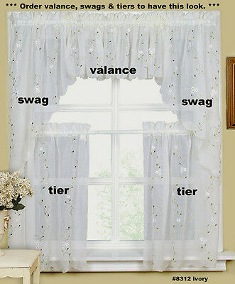 Daisy Embroidery Kitchen Curtain Valance Tiers Or Swags Ivory Creative  Linens | Ebay Inside Floral Embroidered Sheer Kitchen Curtain Tiers, Swags And Valances (View 17 of 50)