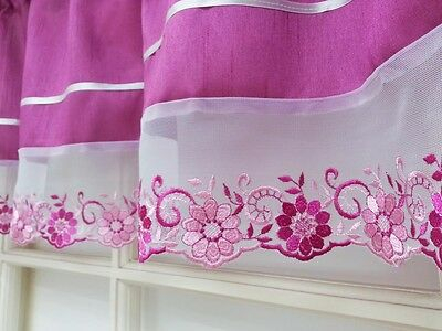 Daisy Garden 3Pcs Lace Kitchen Curtain Set. Dark Rose / Lavender Color (View 11 of 30)