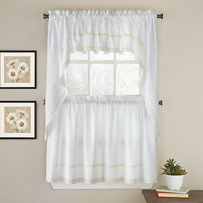 Inspiration about Daisy Mae Floral Kitchen Window Curtain Tier Pair, Valance Or Swag Pair  Yellow | Ebay Intended For Cotton Blend Ivy Floral Tier Curtain And Swag Sets (#10 of 30)