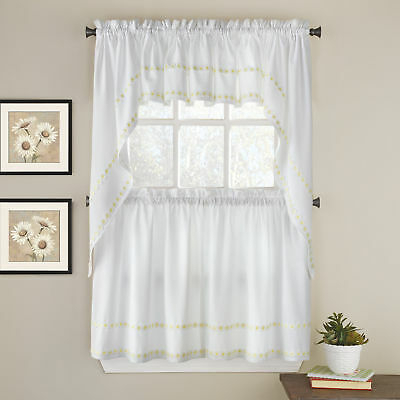Inspiration about Daisy Mae Floral Kitchen Window Curtain Tier Pair, Valance Or Swag Pair  Yellow | Ebay With Floral Embroidered Sheer Kitchen Curtain Tiers, Swags And Valances (#39 of 50)