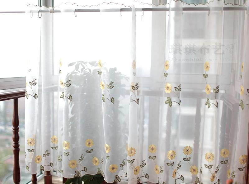 Inspiration about Daisy Semi Shade Coffee Curtain Small Kitchen Curtain Head Curtain Embroidered Finished Curtain Pertaining To Cotton Classic Toast Window Pane Pattern And Crotchet Trim Tiers (#36 of 50)