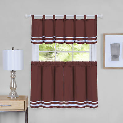 Dakota Window Curtain Tier Pair And Valance Set – 58X24 | Ebay Pertaining To Dakota Window Curtain Tier Pair And Valance Sets (#15 of 30)