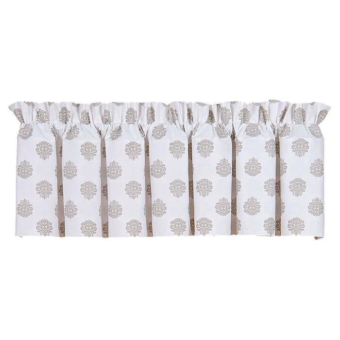 """Damask Medallion 80"""" W Window Valance In White Tone On Tone Raised Microcheck Semisheer Window Curtain Pieces (#18 of 46)"""