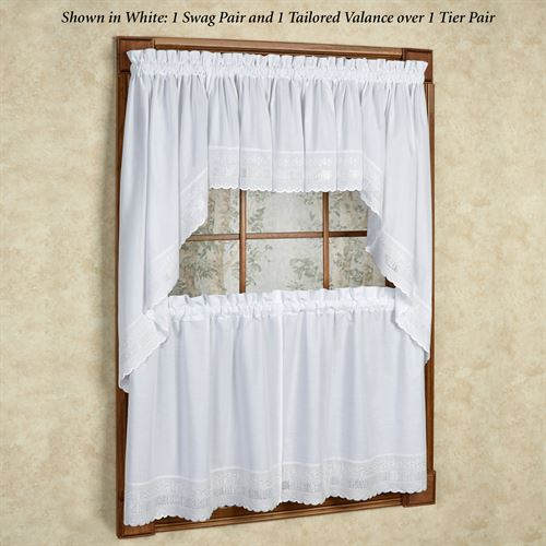 Danielle Embroidered Trim Tier Window Treatment With Embroidered Rod Pocket Kitchen Tiers (View 13 of 49)