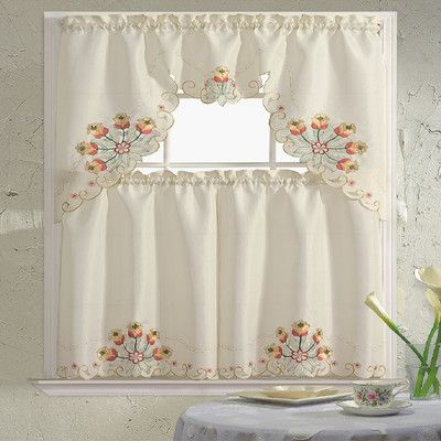 """Inspiration about Daniels Bath Embroidered 60"""" Valance And Tier Set Color For Urban Embroidered Tier And Valance Kitchen Curtain Tier Sets (#5 of 30)"""
