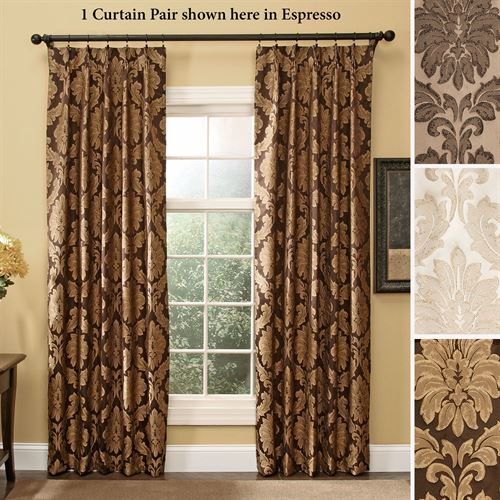 Darby Damask Pinch Pleat Curtain Pair Drapes Intended For Pleated Curtain Tiers (View 26 of 50)