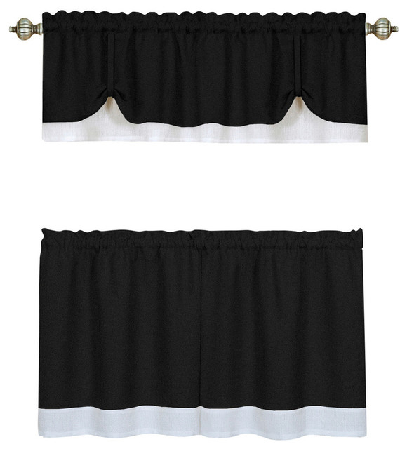 """Darcy Window Curtain Tier And Valance Set 58""""x24""""/58""""x14"""", Black/white With Grey Window Curtain Tier And Valance Sets (View 21 of 50)"""