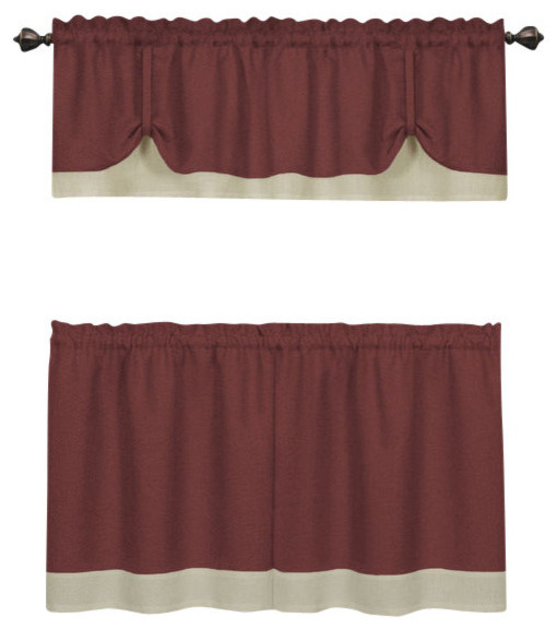 "Darcy Window Curtain Tier And Valance Set, 58""x24""/58""x14"", Marsala/tan With Barnyard Window Curtain Tier Pair And Valance Sets (View 29 of 50)"