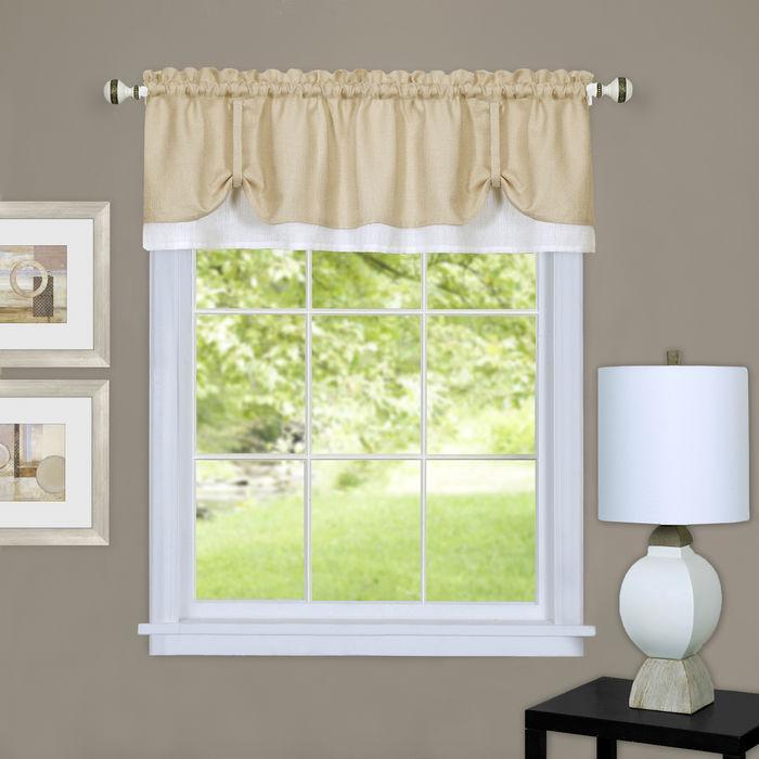 Darcy Window Curtain Valance, Tan/white With Dakota Window Curtain Tier Pair And Valance Sets (#18 of 30)