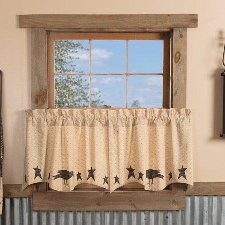 Dark Creme Tan Primitive Kitchen Curtains Prim Grove Crow With Primitive Kitchen Curtains (#14 of 30)