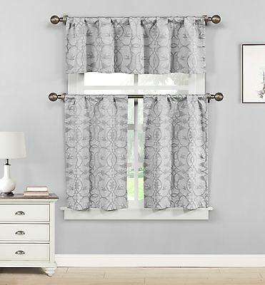 Dawn Birds Gray Jacquard Fabric Kitchen Window Set, 3Pc (View 5 of 46)