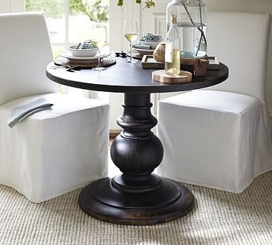 Inspiration about Dawson Pedestal Dining Tables Regarding Most Recently Released Dawson Wood Pedestal Side Table, Weathered Black – Accent (#1 of 20)