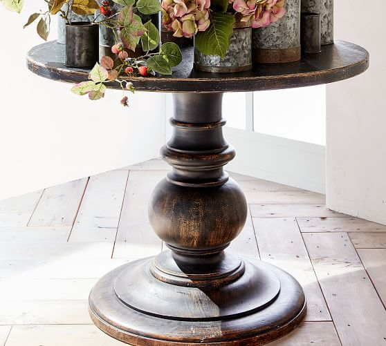 Dawson Wood Pedestal Side Table, Weathered Black – Accent Within Well Known Dawson Pedestal Dining Tables (View 5 of 20)
