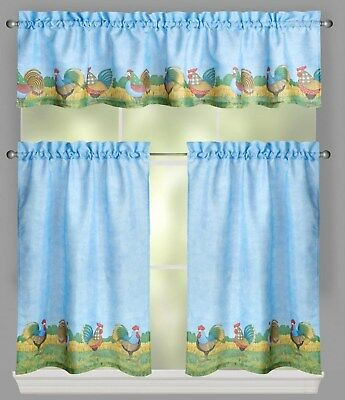Debbie Mumm Rooster Farm Tier And Valance Set 36L Blue | Ebay Inside Barnyard Window Curtain Tier Pair And Valance Sets (View 30 of 50)