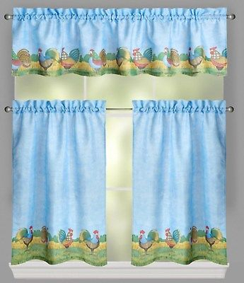 Debbie Mumm Rooster Farm Tier And Valance Set 36L Blue | Ebay With Barnyard Buffalo Check Rooster Window Valances (View 12 of 30)