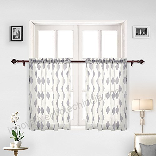 Inspiration about Deconovo Grey Curtains Jacquard Leaf Pattern Sheer Tier Pertaining To Grey Window Curtain Tier And Valance Sets (#26 of 50)