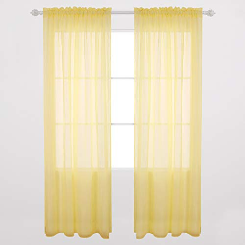 Inspiration about Deconovo Rod Pocket Crushed Voile Curtains Sheer Window Within Elegant Crushed Voile Ruffle Window Curtain Pieces (#37 of 45)