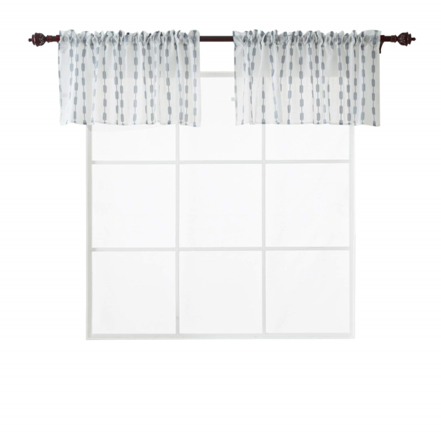 Deconovo Rod Pocket White Sheer Valance Curtains Textured Tier Curtain  Drapes 2 Inside Coffee Drinks Embroidered Window Valances And Tiers (View 13 of 45)