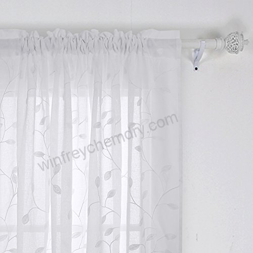 Deconovo Solid Sheer Curtains Drapes Floral Leaves Faux Inside Embroidered Rod Pocket Kitchen Tiers (View 14 of 49)